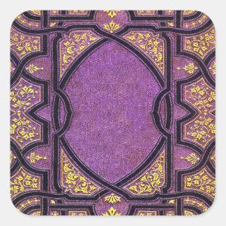 Falln Purple & Gold Vines Book Cover Square Sticker