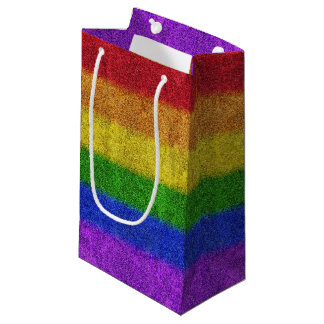 Falln Rainbow Glitter Gradient Small Gift Bag