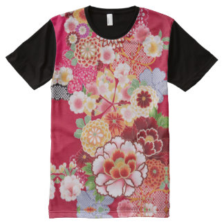 Falln Red Floral Burst All-Over Print T-Shirt