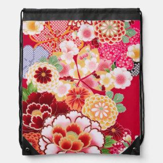 Falln Red Floral Burst Drawstring Bag