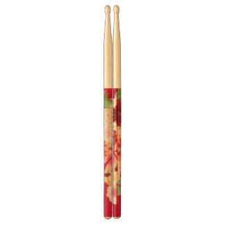 Falln Red Floral Burst Drumsticks