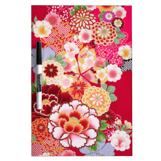 Falln Red Floral Burst Dry Erase Board