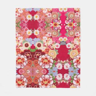 Falln Red Floral Burst Fleece Blanket