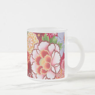 Falln Red Floral Burst Frosted Glass Coffee Mug