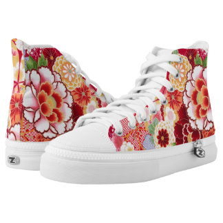 Falln Red Floral Burst High Tops