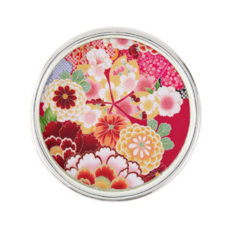 Falln Red Floral Burst Lapel Pin