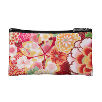 Falln Red Floral Burst Makeup Bag