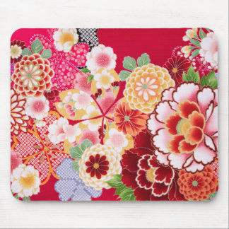 Falln Red Floral Burst Mouse Pad