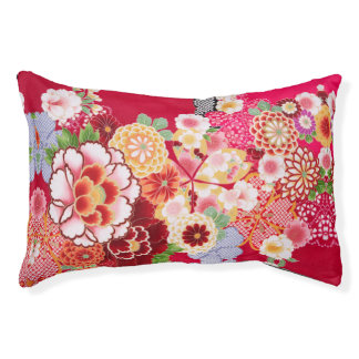 Falln Red Floral Burst Pet Bed