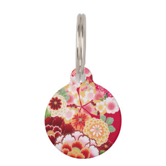 Falln Red Floral Burst Pet ID Tag