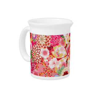 Falln Red Floral Burst Pitcher