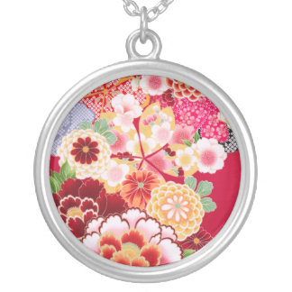 Falln Red Floral Burst Silver Plated Necklace