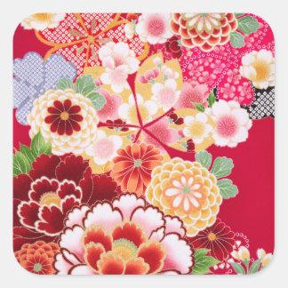 Falln Red Floral Burst Square Sticker