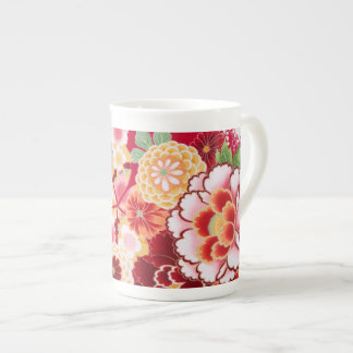 Falln Red Floral Burst Tea Cup