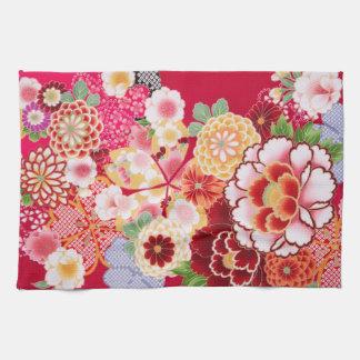 Falln Red Floral Burst Tea Towel