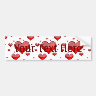 Falln Red Hearts (You Choose Background Color!) Bumper Sticker