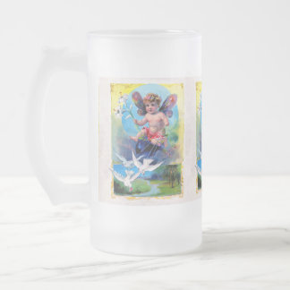 Falln Spring Time Fairy Frosted Glass Beer Mug