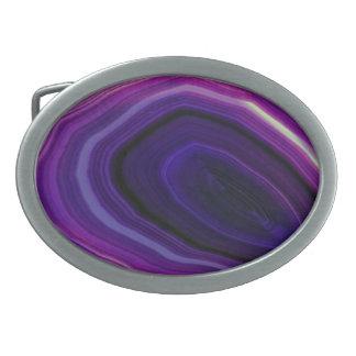 Falln Swirled Purple Geode Oval Belt Buckle