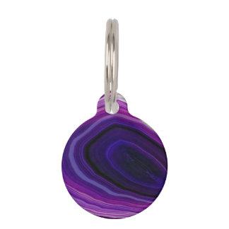Falln Swirled Purple Geode Pet Name Tag