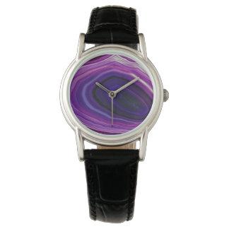 Falln Swirled Purple Geode Watch