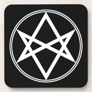 Falln Unicursal Hexagram White Coaster