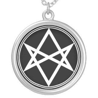 Falln Unicursal Hexagram White Silver Plated Necklace