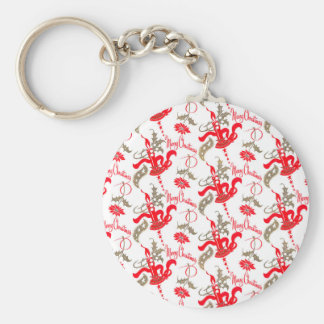 Falln Vintage Merry Christmas Candles Basic Round Button Key Ring