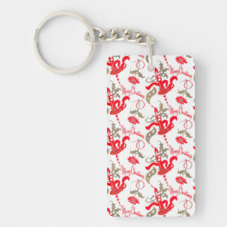 Falln Vintage Merry Christmas Candles Double-Sided Rectangular Acrylic Key Ring