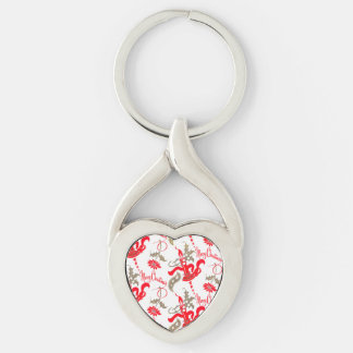 Falln Vintage Merry Christmas Candles Silver-Colored Twisted Heart Key Ring