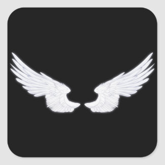 Falln White Angel Wings Square Sticker