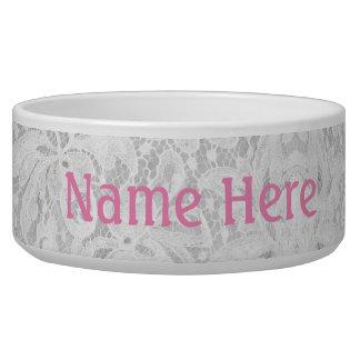Falln White Lace Dog Bowl