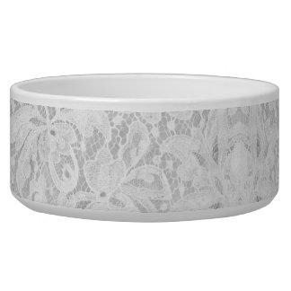 Falln White Lace Pet Food Bowls