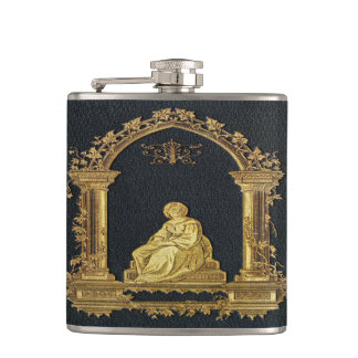 Falln Woman in Gold Book Cover Hip Flask