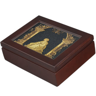 Falln Woman in Gold Book Cover Keepsake Box