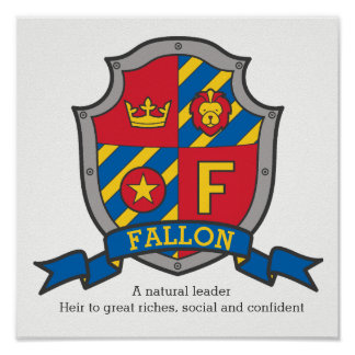 Fallon boys F name meaning heraldry shield poster