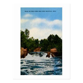 Falls on Pike River near Iron Mountain, Michigan Postcard