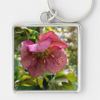 Falls Park Flower Collection Silver-Colored Square Key Ring