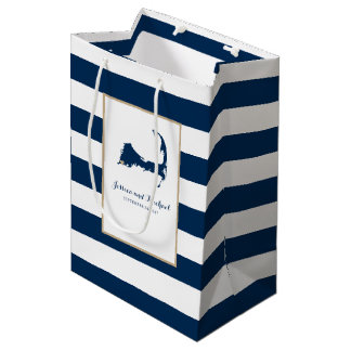 Falmouth Cape Cod Map with Gold Heart Blue Stripes Medium Gift Bag
