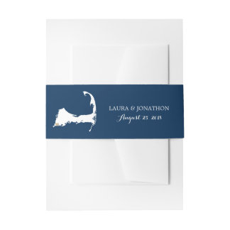 Falmouth Navy Cape Cod Map with heart | Wedding Invitation Belly Band