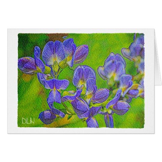 False Indigo/Floral  Art/Watercolor Look Card