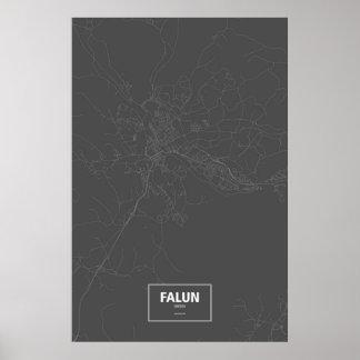 Falun, Sweden (white on black) Poster