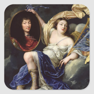 Fame Presenting a Portrait of Louis XIV Square Sticker