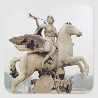 Fame Riding Pegasus  1699-1702 Square Stickers