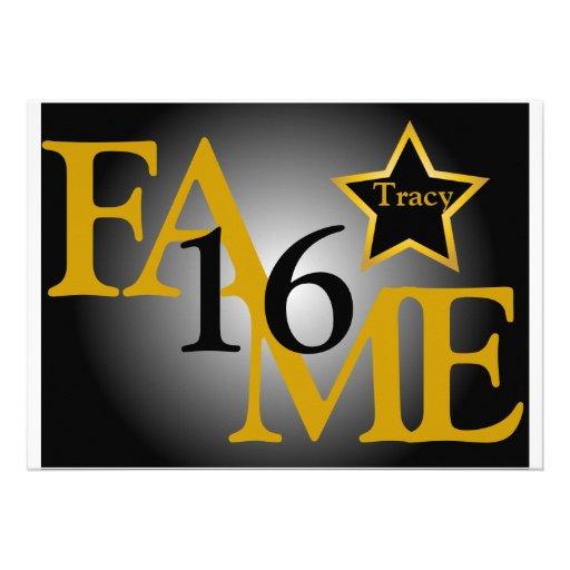 FAME Sweet Sixteen Star -Customize Custom Announcement