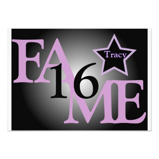 FAME Sweet Sixteen Star -Customize Personalized Invitation