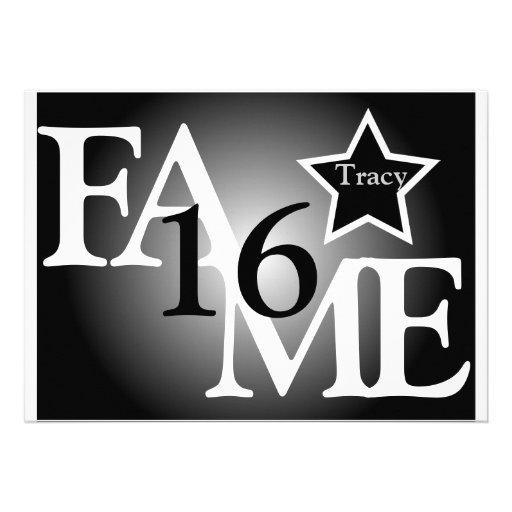 FAME Sweet Sixteen Star -Customize Custom Invites