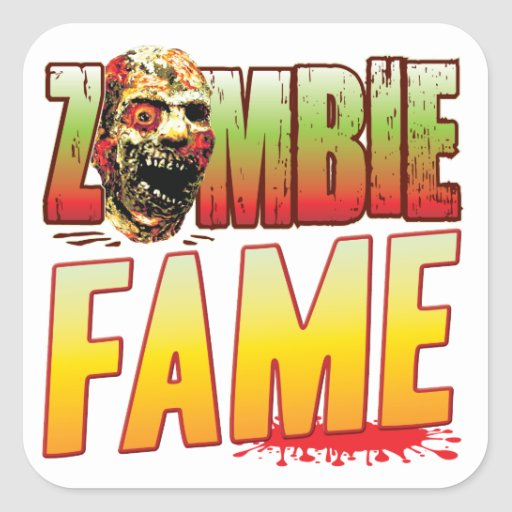 Fame Zombie Head Square Stickers
