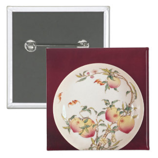 Famille rose plate decorated 15 cm square badge