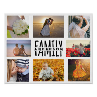 Family 8 Photo Collage Template Plus Add Name V1 Poster