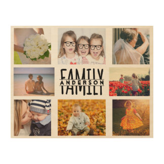 Family 8 Photo Collage Template Plus Add Name V1 Wood Canvases